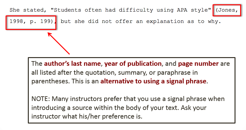 examples of an APA style in-text citation without using a signal phrase to introduce the author
