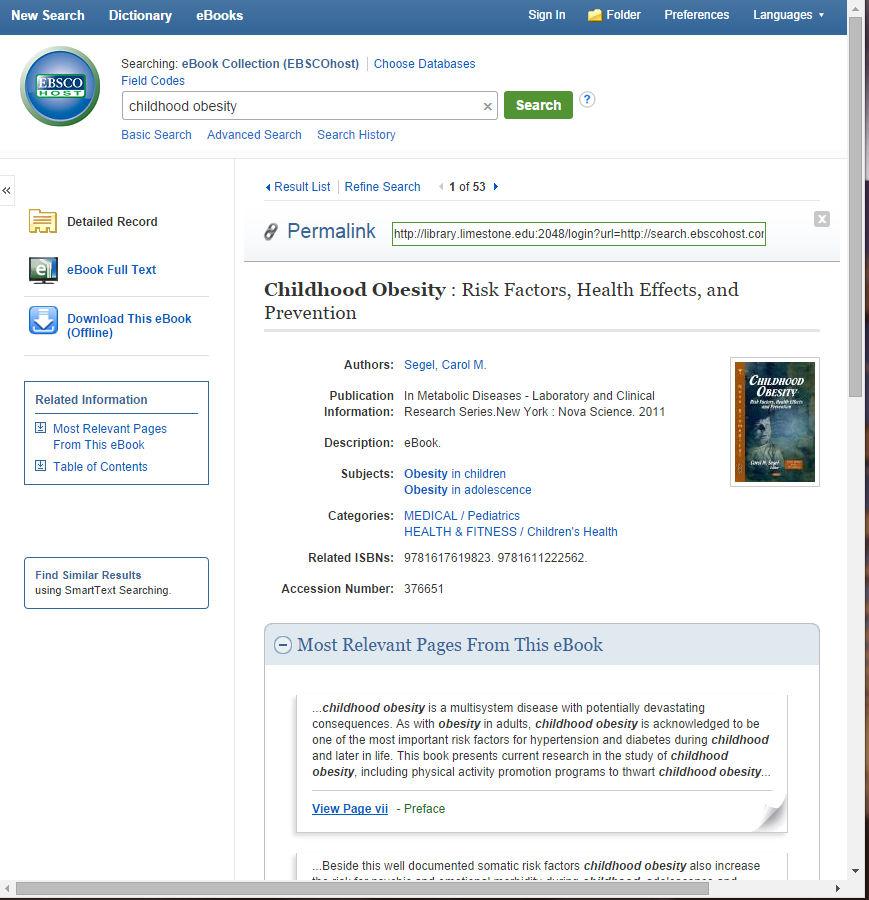 EBSCO e-book permalinking example