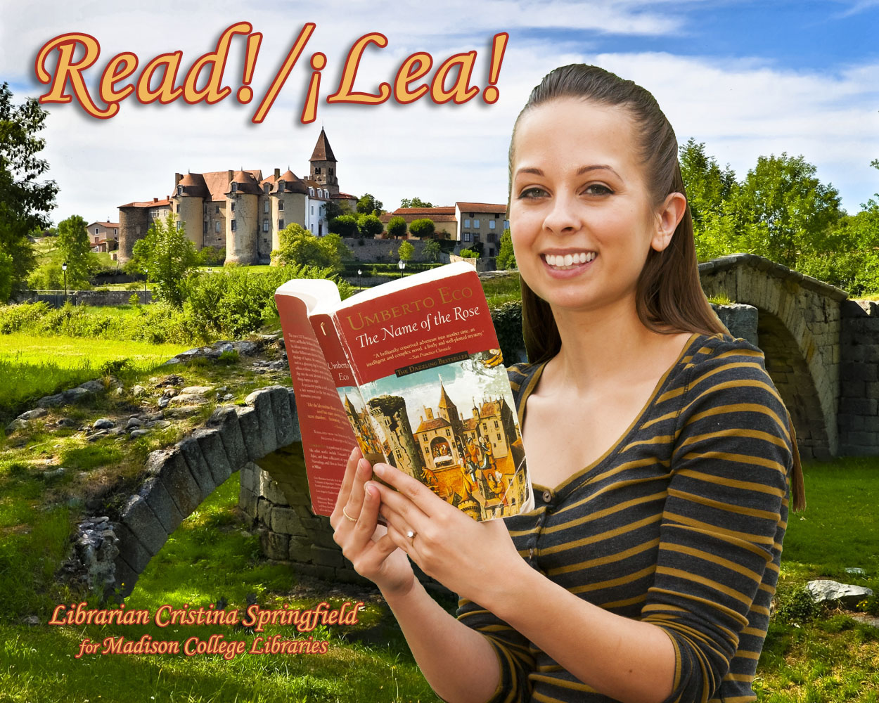 Read/!Lea! poster feature SAC Librarian Cristina Springfield