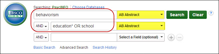 Sample search in EBSCO