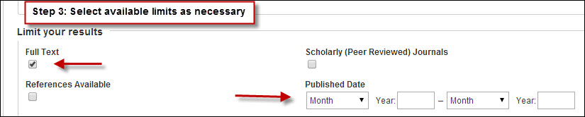 Limits in Ebsco databases