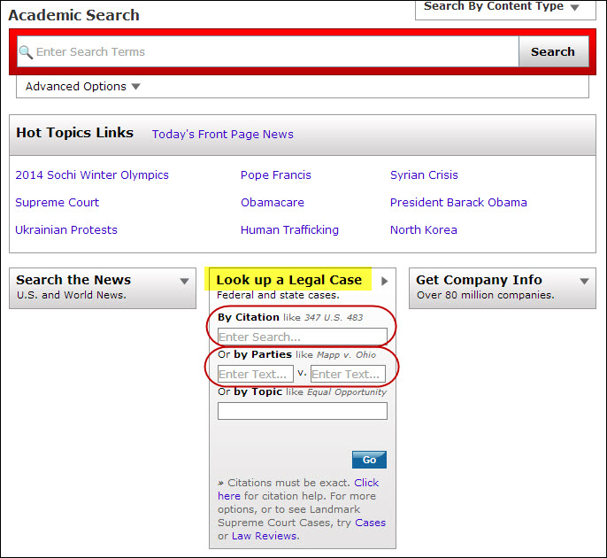 Look up a Legal Case search box in LexisNexis