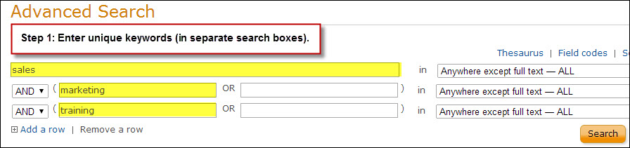 Example search in Proquest.