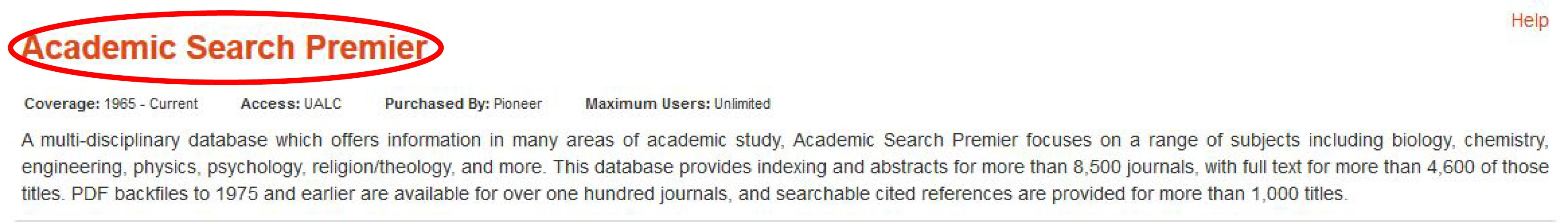 Library homepage with letter A circled under Research Databases tab