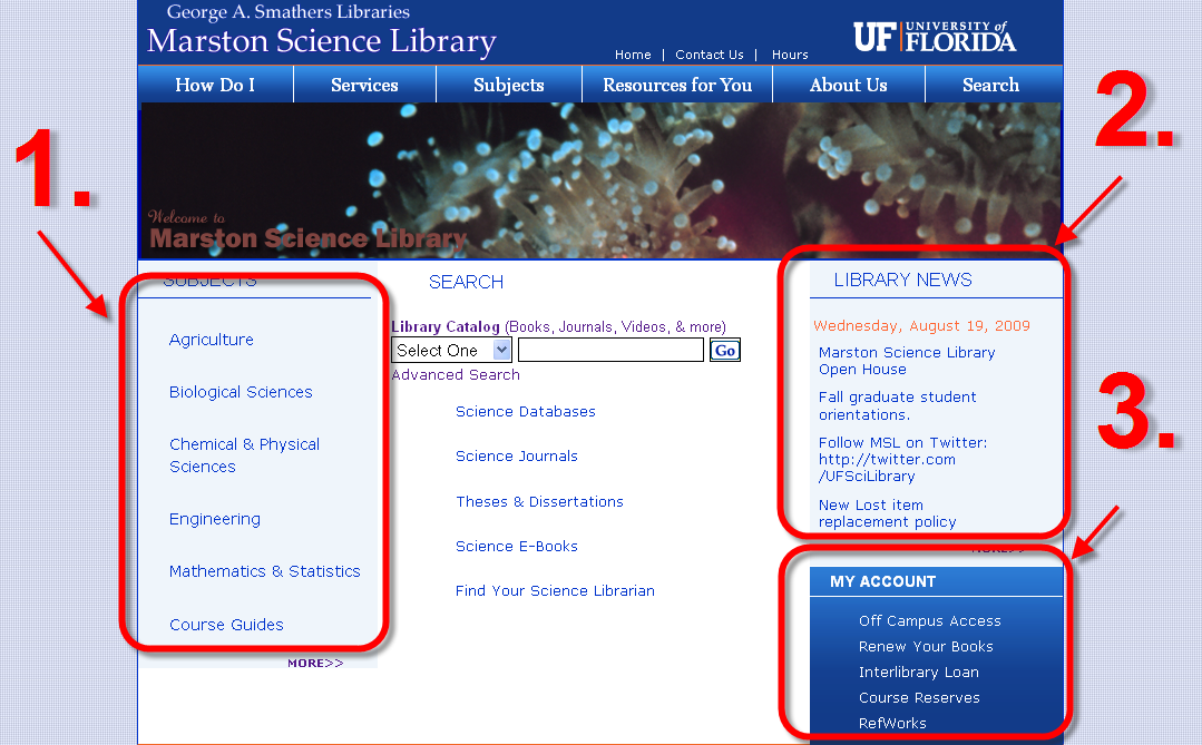 Homepage for Marston Science Librart