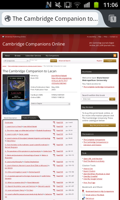 Cambridge Companions eBook table of contents