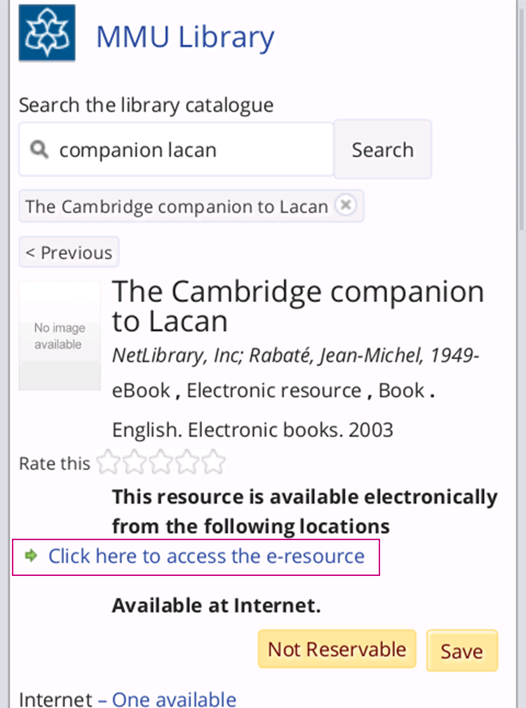 Library catalogue eBook download link