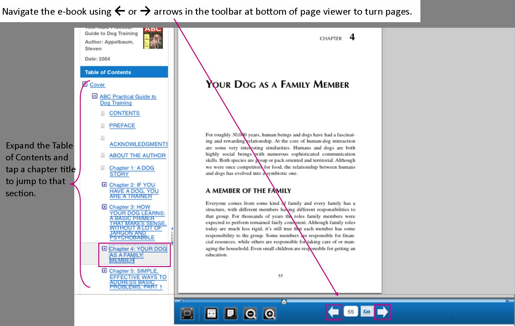 EBSCO eBook navigation