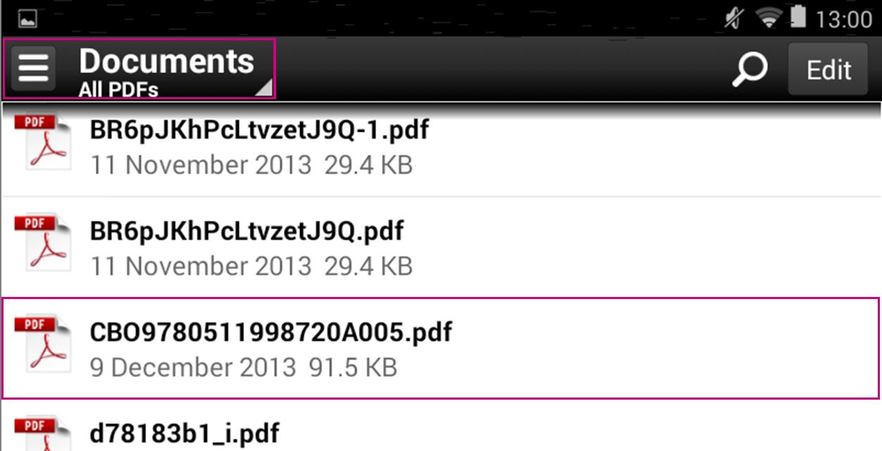 Adobe Reader file list