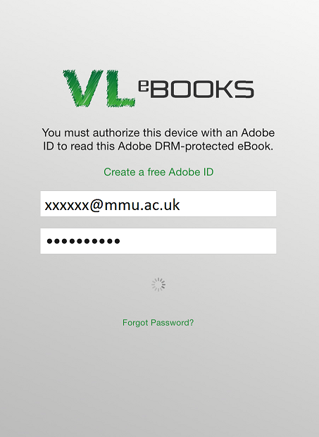 VLE Adobe authorization page
