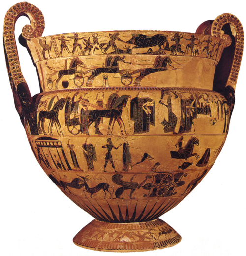 François Vase, black-figure volute krater decorated with bands of mythological scenes