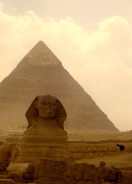 View of Great Pyramid and Sphinx at Giza