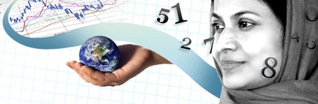 a woman wearing a head scarf contemplates a hand holding a globe and a digital graph superimposed on graph paper as numbers float around her head.