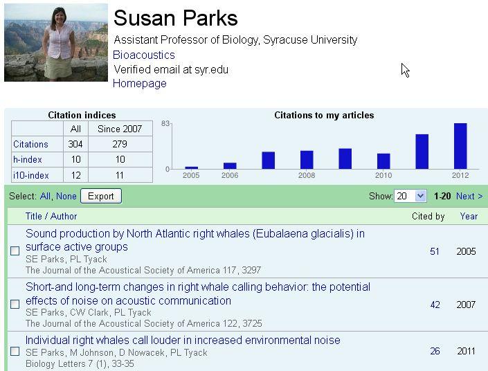 SE Parks, Google Scholar Citations