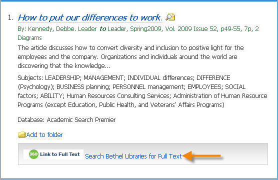 Search Bethel Libraries for full text link
