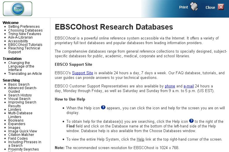 Academic Search Help Screen