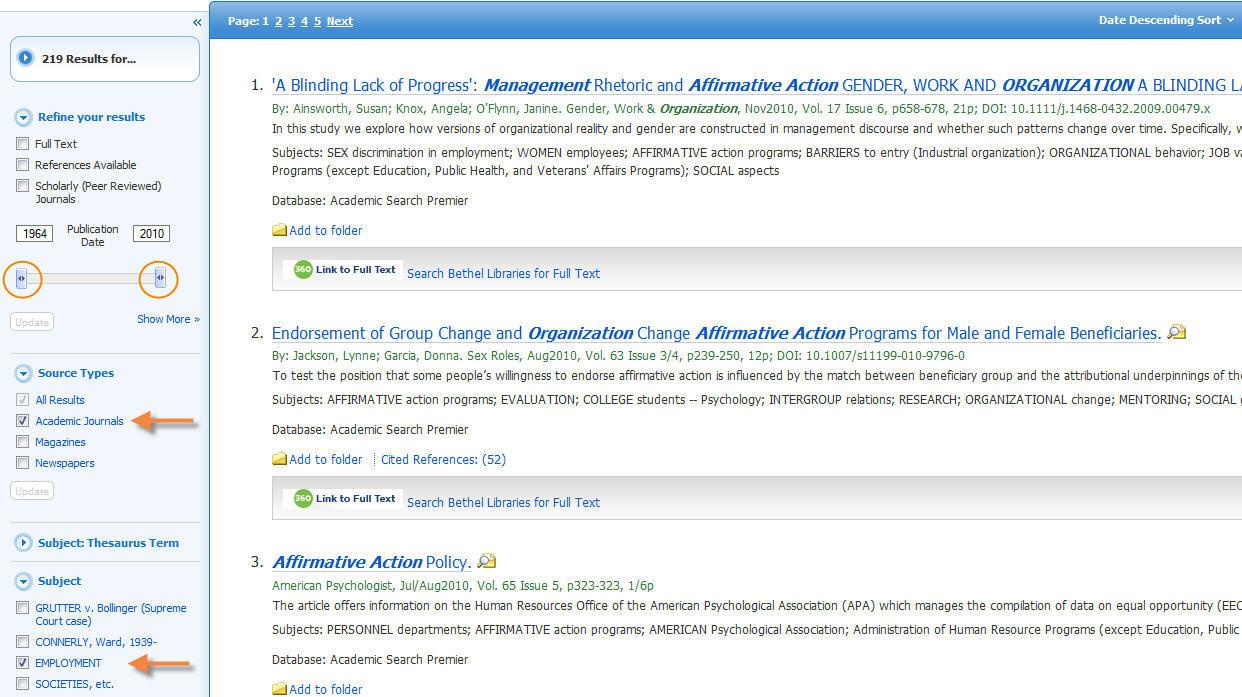 Academic Search Premier Limiters
