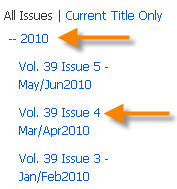 Displaying individual issues of a magazine/journal