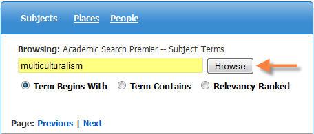 Subject Term Search Box