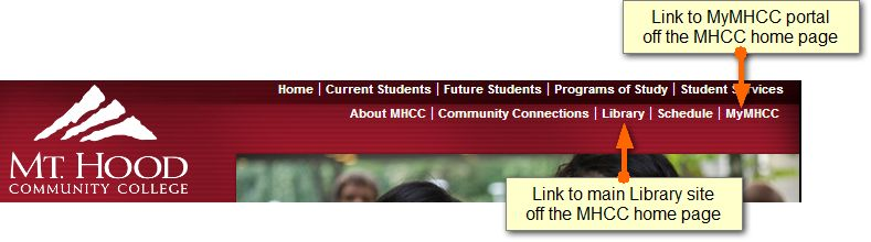 Links off the main MHCC home page