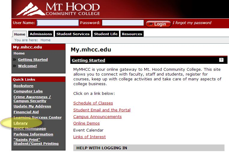 MyMHCC Library link