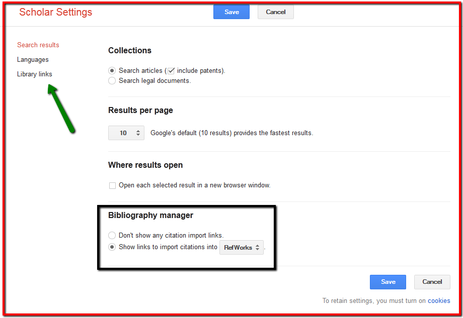 Google refworks setting