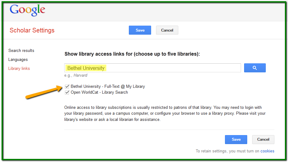 Google library settings