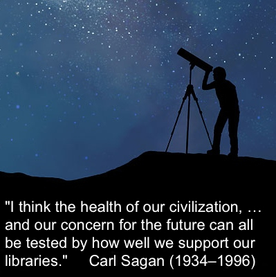 Carl Sagan quote, image with telescope