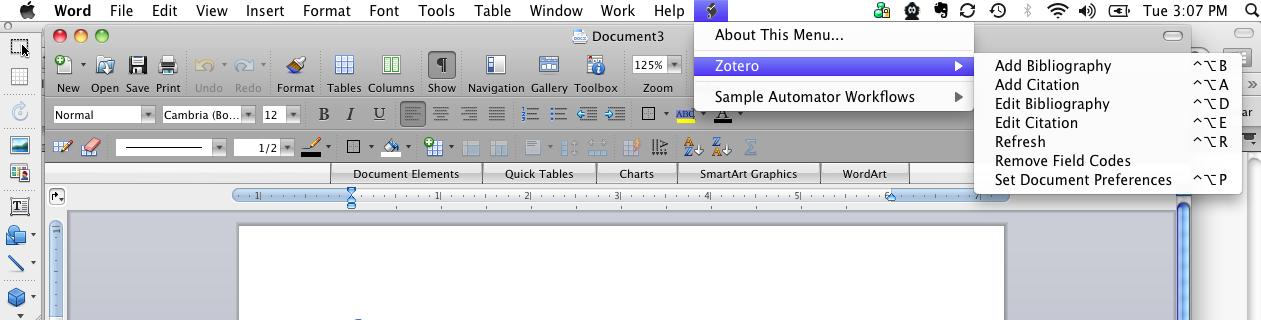 Toolbar with Zotero menus under scroll icon.