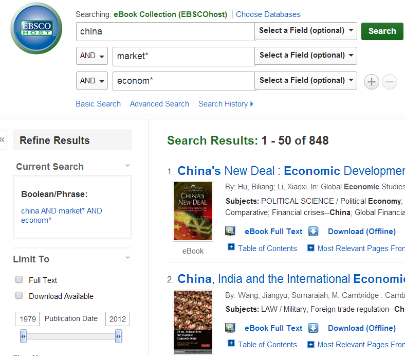 EBSCO eBook search & results