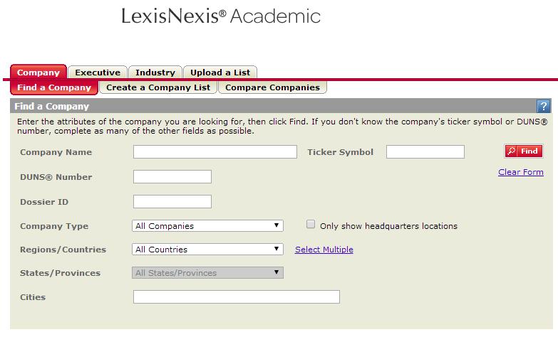 LexisNexis Company Dossier search