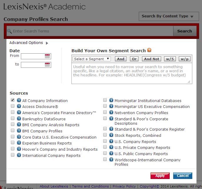 LexisNexis Company Profile search