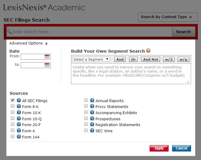 LexisNexis Company SEC search