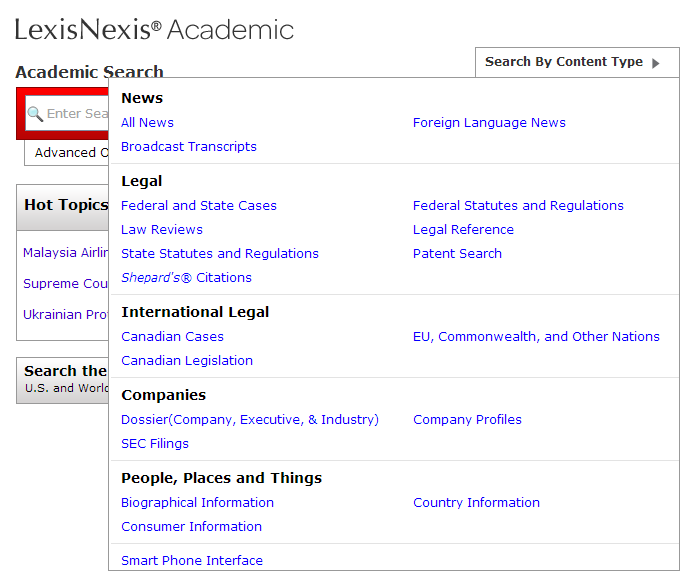 LexisNexis Content Type search options