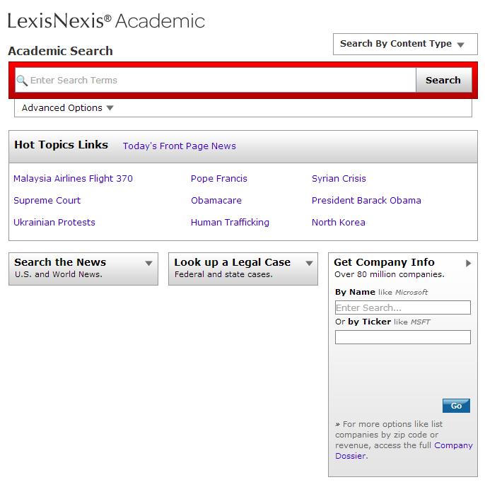 LexisNexis Company Search box