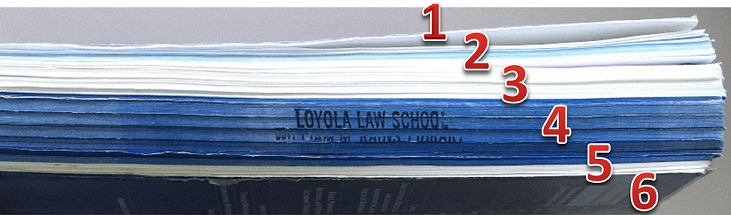 Photo of Bluebook from the side, showing color coded pages