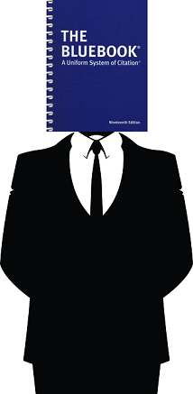 Image of suit with Bluebook head.