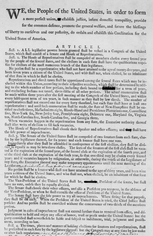 Scan of printed U.S. constitution with crossed out lines and handwritten notes by George Washington.
