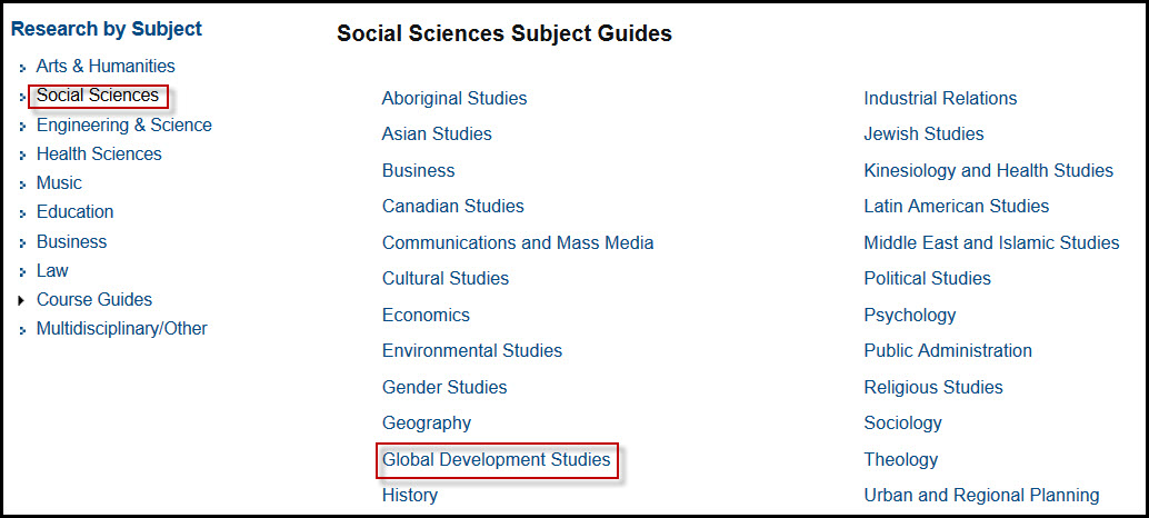 Social Sciences Subject Guide