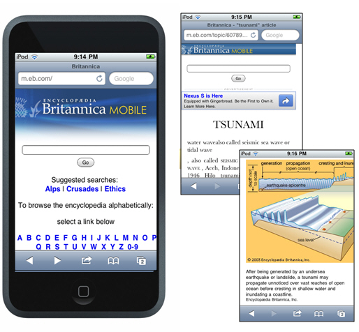 Britannica on an iPhone