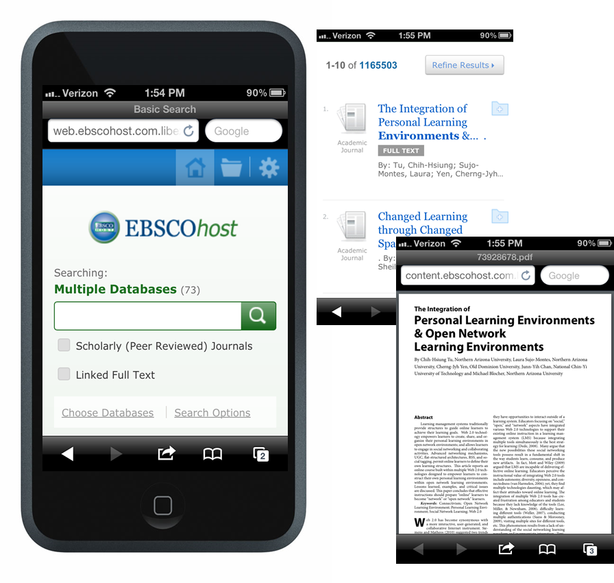 Ebscohost Mobile on an iPhone