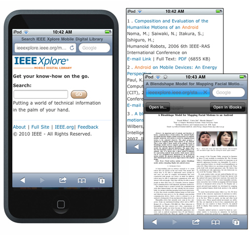 IEEE Xplore on an iPhone