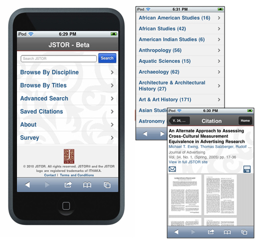 JSTOR on an iPhone