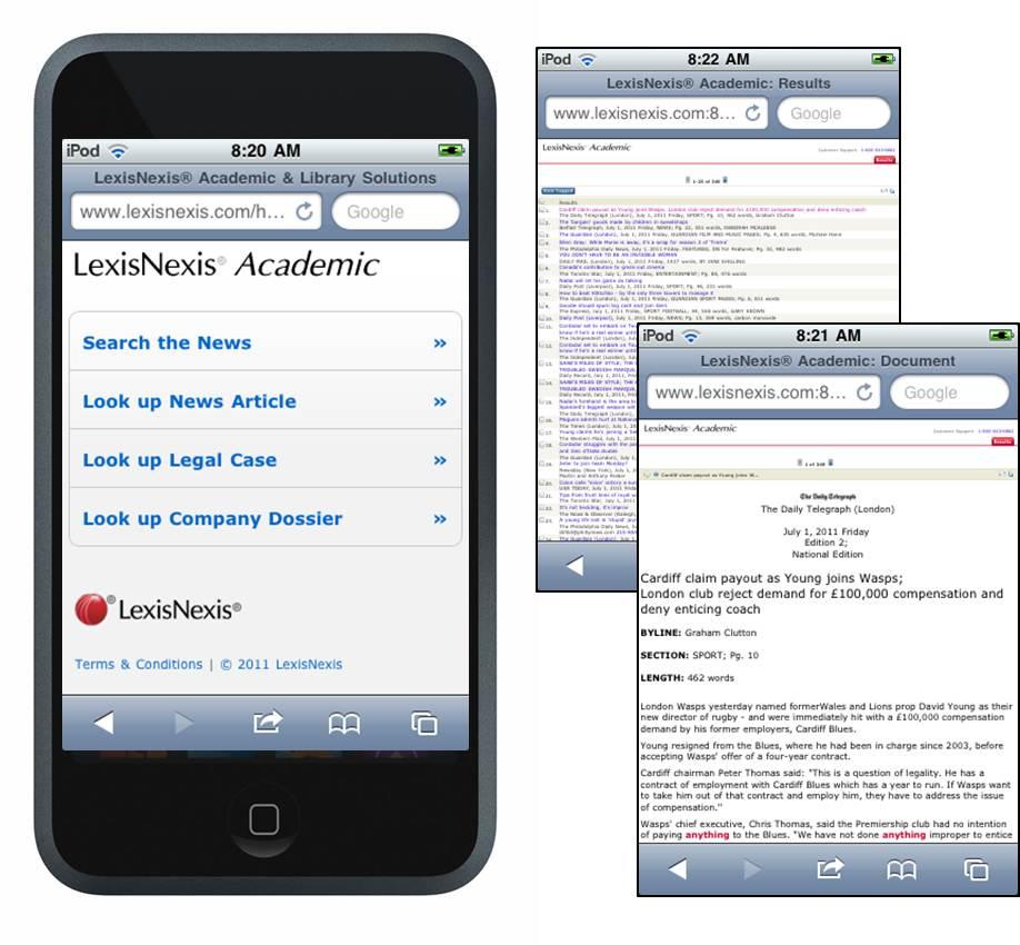 LexisNexis on an iPhone