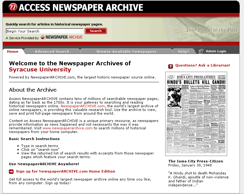 Newspaper Archive database search interface