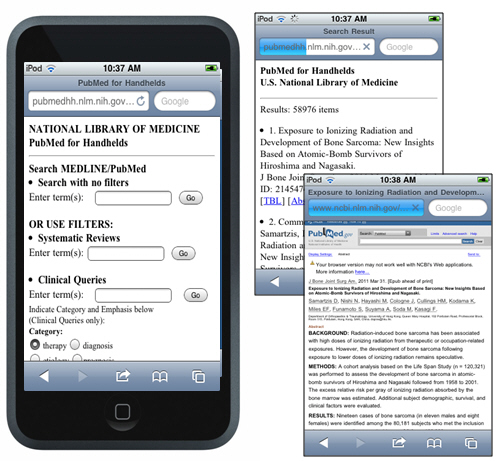 PubMed on an iPhone
