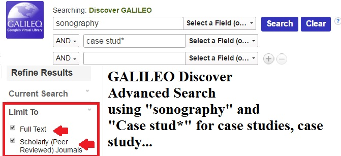 GALILEO Advvanced Search Sonography Case Studies