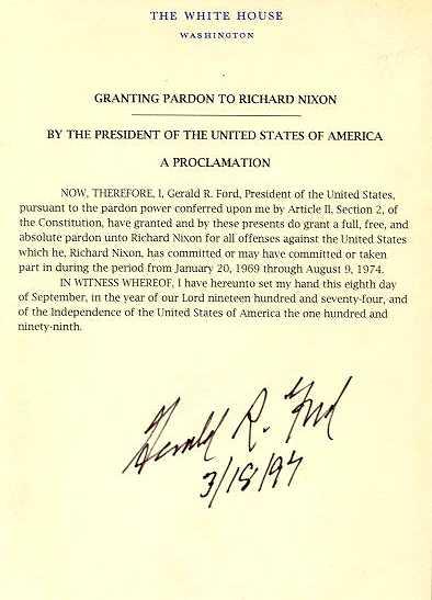 Nixon's pardon by Ford