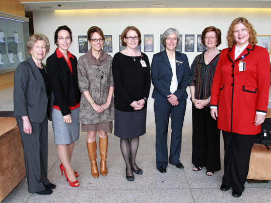 Honored at the 14th annual Faculty Awards Luncheon were (l to r), Linda Weinreb, Tiffany Moore Simas, Sherry Pagoto, Sonia Chimienti, Sara Shields, Ruthann Rizzi and Amy Wachholtz.