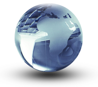 transparent glass globe showing Africa